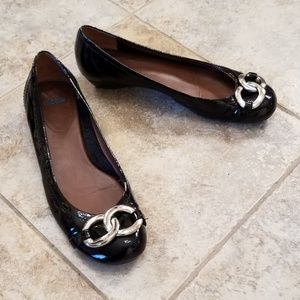 Nicole Patent Leather Chain Toe Ballet Small Wedge